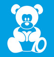 teddy bear holding a heart icon white vector image