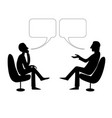 two men are talking with bubble drawing vector image vector image