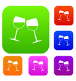 two wine glasses set color collection vector image vector image