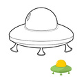 UFO coloring book of an alien space transpo vector image vector image