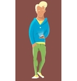 Young man walking with handie or mobile phone vector image vector image