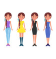 young women in stylish outfits of summer mode set vector image vector image