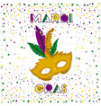 mardi gras poster with yellow carnival mask and vector image