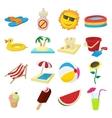 Summer icons set cartoon style vector image