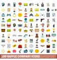 100 raffle company icons set flat style