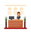 flat hotel reception desk with young woman