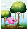 A monster exercising in the forest vector image vector image