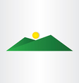 abstract green mountain with sun vector image