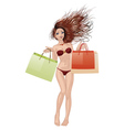 Bikini girl going shopping vector image vector image