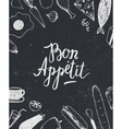 Bon Appetit graphic poster with food vector image vector image
