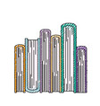 book stacked in bottom view in colored crayon vector image vector image