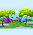boy and girl scout camping in nature vector image