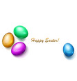 colored easter eggs on white background vector image vector image