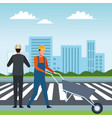 construction teamwork avatar vector image vector image