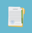 contract in flat style business concept vector image vector image