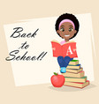 cute african american girl reading book vector image