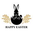 easter icon with rabbit in egg vector image vector image