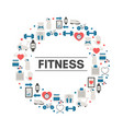 fitness background with sport icons fitness vector image