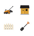 flat icon dacha set of wooden barrier stabling vector image vector image