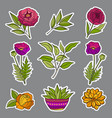 floral hand drawn stickers vector image vector image