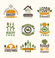 food logos healthy kitchen restaurant buildings vector image