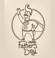 happy fathers day banner with dad super hero vector image vector image