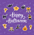 happy halloween banner with halloween icons vector image