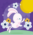 happy mid autumn festival funny bunny flowers vector image vector image