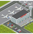 Isometric Airport Building with Airplanes vector image vector image