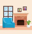 living room place with sofa vector image