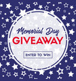 memorial day giveaway banner template vector image vector image