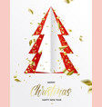paper cut design christmas tree on a red backdrop vector image vector image