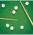 pool stick and balls on green billiard table while vector image vector image