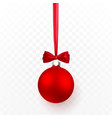 red christmas ball with red bow xmas glass ball vector image vector image