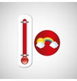 red thermometer icon rainbow weather meteorology vector image vector image
