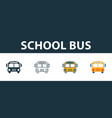 school bus icon set four elements in diferent vector image vector image
