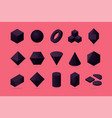 set 3d object basic polygone shapes isometric vector image