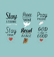 Set of 6 hand lettering christian quotes with vector image