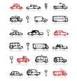 Set of cars sketch and traffic signs for your vector image vector image
