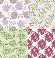 Set of hand drawn seamless patterns with cute teap vector image