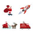 Set santa claus different types transport