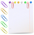 sheet of paper with paper clips vector image