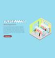 supermarket milk department isometric web banner vector image vector image