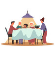 thanksgiving and christmas family dinner vector image vector image