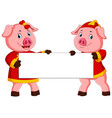 two cute pigs are holding the white board vector image vector image