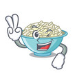 two finger rice bowl character cartoon vector image