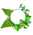 wreath of green leaves with frame for text vector image vector image