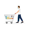 young man masked pushing shopping cart vector image