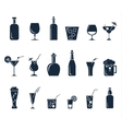 Set of black flat icons about beverage vector image