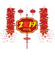 2019 chinese new year greeting card with white vector image